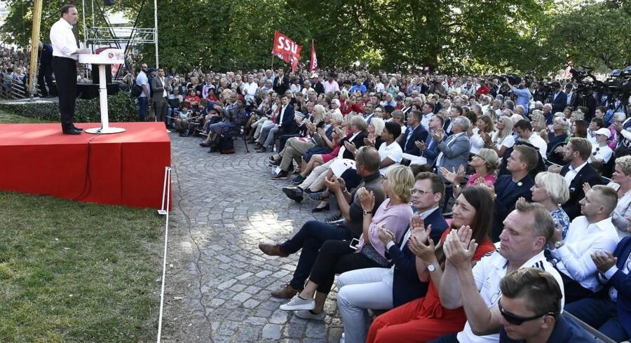 Den svenske statsminister, Stefan Löfven, forsøgte på det svenske folkemøde at vende meningsmålingernes signal om en dramatisk nedtur for Socialdemokraterna.