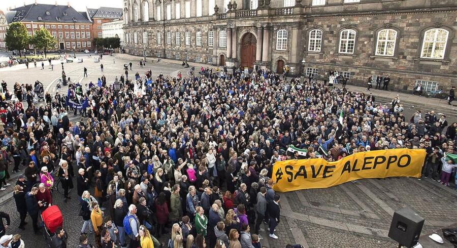 Demonstration i København 1. oktober 2016 for ofrene i Aleppo aleppo. (Foto: David Lundbye/Scanpix 2016)