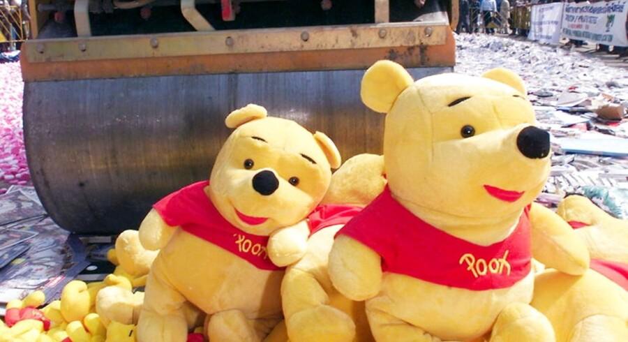 Peter Plys bliver censureret bort i Kina. Årsagen er, at bloggere er begyndt at brugen bjørnen som symbol på Kinas præsident, Xi Jinping. AFP PHOTO/Pornchai KITTIWONGSAKUL