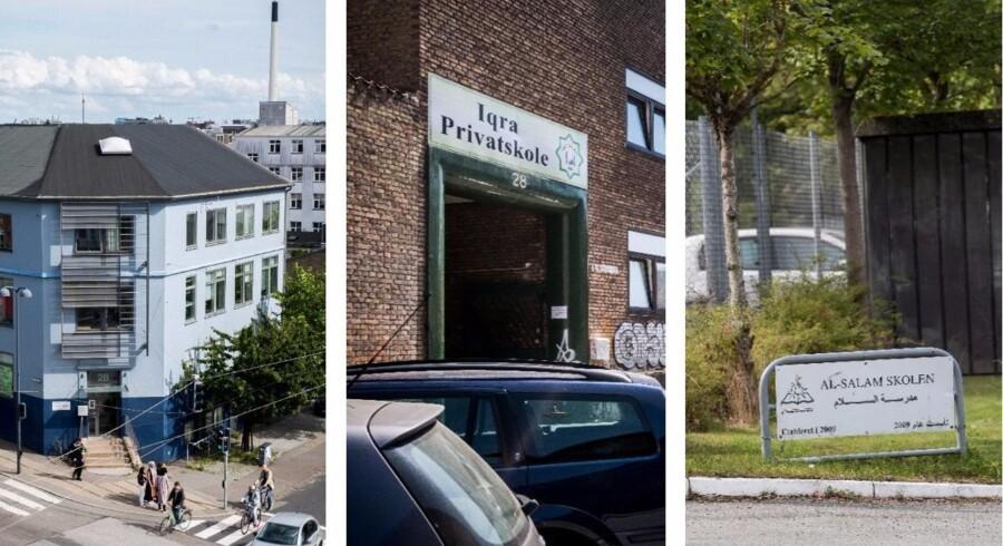 De tre skole, som i øjeblikket er under særligt skærpet tilsyn fra Undervisningsministeriets side er - fra venstre mod højre - Nord-Vest Privatskole i København, Iqra Privatskole i København og Al-Salam Skolen i Odense.