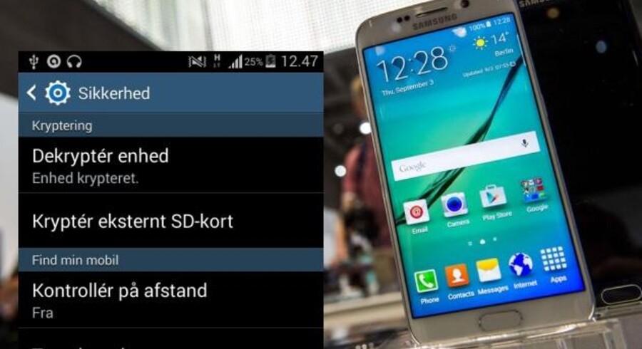 Man kan selv kryptere sin Android-telefon, hvis den - som flertallet - ikke er det. Det tager omkring 20 minutter, og eneste synlige forskel i brugen er, at man skal taste en lidt længere kode ind, når telefonen skal låses op eller tændes igen. Collage