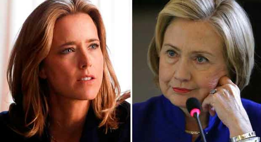 Skuespillerinden Tea Leoni (tv) som Madam Secretary - og Hillary Clinton (th).