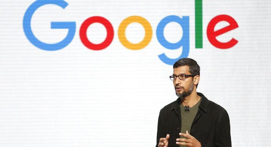 Googles topchef, Sundar Pichai, kommer fredag til Bruxelles for at mødes med bl.a. Margrethe Vestager, EUs konkurrencekommissær. Arkivfoto: Beck Diefenbach, Reuters/Scanpix