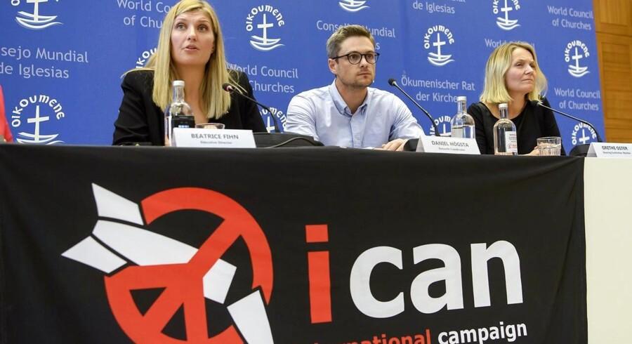 Beatrice Fihn, Daniel Hogsta og Grethe Ostern fra organisationen Ican, der fredag modtog Nobels Fredspris for arbejdet deres koampagne for afskaffelse af atomvåben.