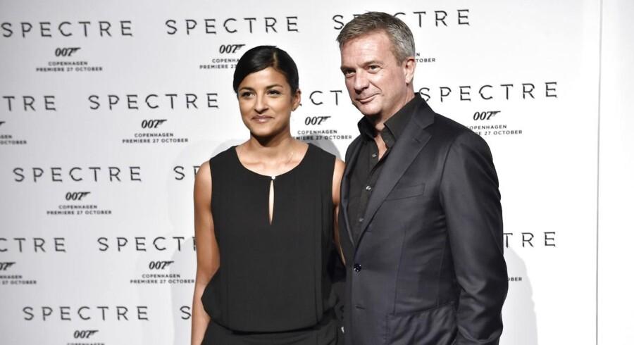 TV-værterne Divya Das og Kim Bildsøe Lassen til gallapremiere på James Bond-filmen Spectre tirsdag 27. oktober 2015 i Imperial Bio i København.