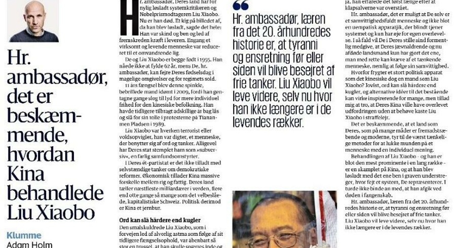 Adam Holm skrev 21. juli om den nu afdøde systemkritiker, Liu Xiaobo.