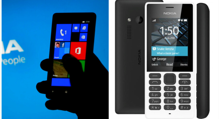 Smartphonen til venstre får en ny tur i mobilmanegen i 2017, når finske HMD er klar med nye Nokia-smartphones. Telefonen til højre er den første nye Nokia-telefon, siden HMD for to uger siden købte mobilproduktionen af de gamle Nokia-telefoner af Microsoft. Det er en Nokia 150. Fotos: Scanpix/HMD