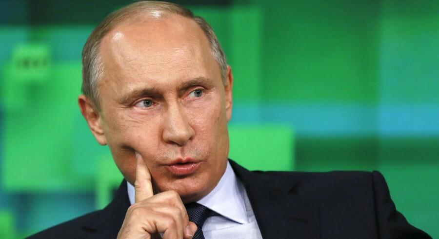 Det er trettende gang, at den russiske præsident afholder sit store TV-show. Tidligere år har programmet »Den direkte linje til Vladimir Putin« varet op til fem timer. Arkivfoto: Scanpix