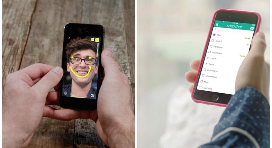 Snapchat har nu flere brugere end Twitter. I Snapchat kan man hurtigt sende billeder af sted med påtegninger og lidt tekst, og det er populært. Arkivfoto: Snapchat