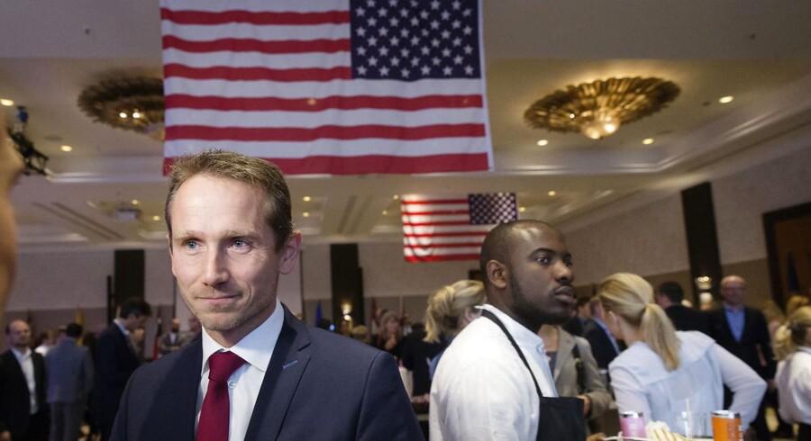 Den amerikanske ambassade i Danmark er vært ved et morgenmadsarrangement på Hotel Marriott i København onsdag morgen d. 9. november 2016 dagen efter det amerikanske præsidentvalg. Udenrigsminister Kristian Jensen. (Foto: Jens Astrup/Scanpix 2016)