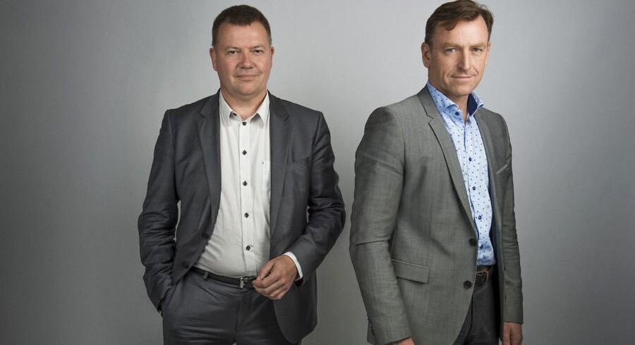 Ansvarshavende chefredaktør på Berlingske, Tom Jensen, og ansvarshavende chefredaktør på BTMX, Jens Grund.