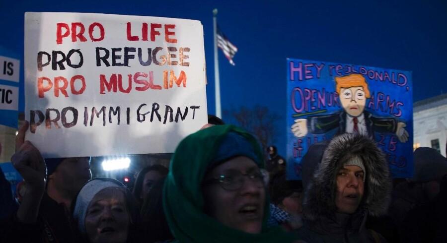 Protesterne har rejst sig mod Trumps indrejse-dekret og andre af hans tiltag.. / AFP PHOTO / JIM WATSON