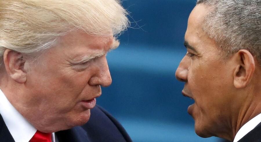 Først sagde Trump, at Obama ikke var amerikaner. Nu siger han, at Obama er en »syg« fyr, der personligt beordrede aflytning af hans telefoner uder præsidentvalget. REUTERS/Carlos Barria/File Photo