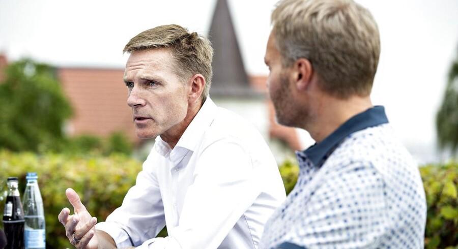 Dansk Folkepartis partiformand Kristian Thulesen Dahl og Peter Skaarup holder pressemøde efter partiets sommergruppemøde på Hotel Comwell i Sønderborg, onsdag den 8. august 2018.. (Foto: Henning Bagger/Ritzau Scanpix)