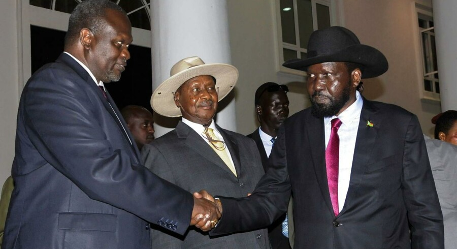 Sydsudans præsident, Salva Kiir, og hans ærkerival Riek Machar.