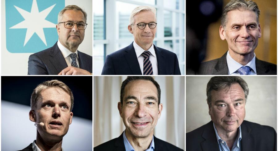 Fra toppen venstre: Søren Skou (A.P. Møller - Mærsk), Lars Rasmussen (Coloplast), Thomas Borgen (Danske Bank), Henrik Poulsen (Ørsted), Anders Colding Friis (Pandora), Peder Holk Nielsen (Novozymes).