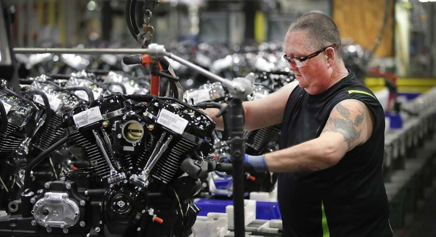 Efter EU pålagde nye toldsatser på importen af Harley-Davidson-motorcykler, har fabrikanten varslet en udflytning af dele af produktionen. Spørgsmålet er, hvordan det vil påvirke fabrikker som denne i amerikanske Menomonee Falls, Wisconsin. (ARKIV)