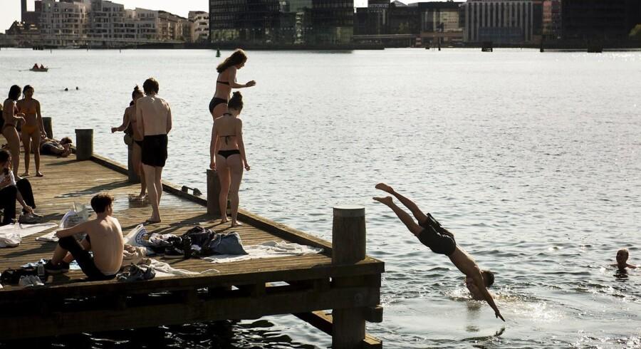 De badende på Islands Brygge nyder sommeren i København.