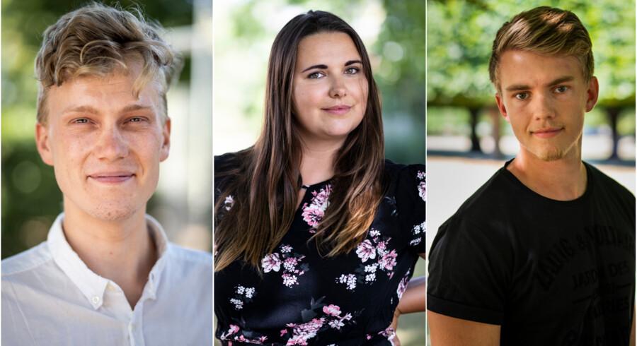 Theodor Kier, Anna Hedegård Persson og Frederik Døj er alle tre søgt ind på en videregående uddannelse og venter spændt på, om de er kommet ind.