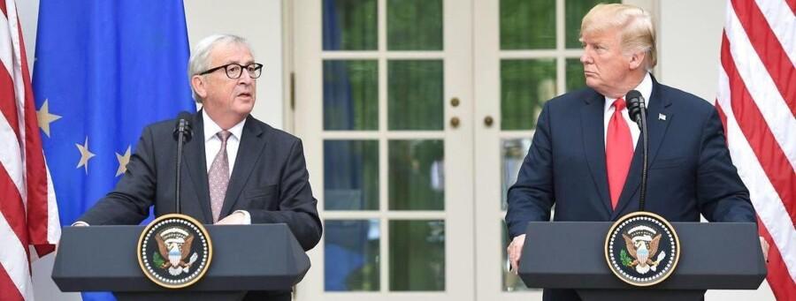 USAs præsident, Donald Trump, og EU-Kommissionens formand, Jean-Claude Juncker, møder pressen foran Det Hvide Hus.