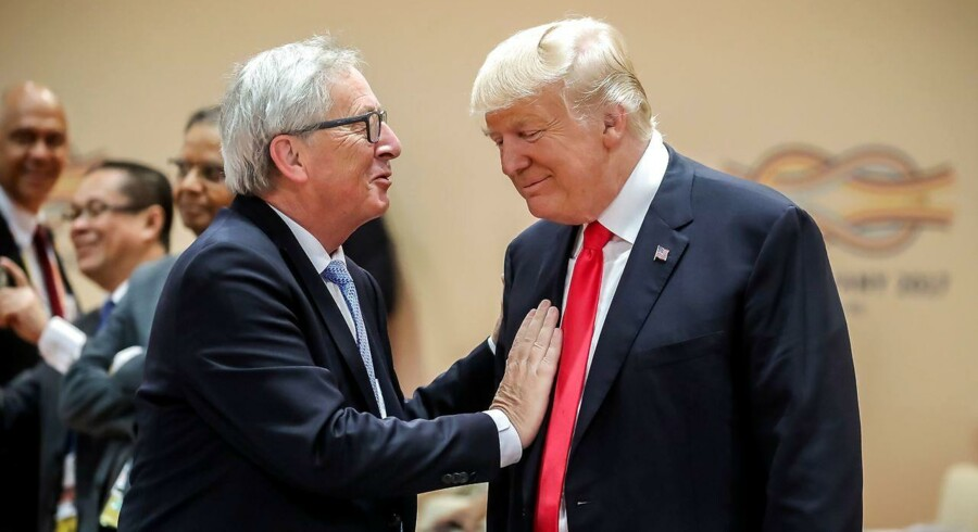 På gensyn: Formanden for EU-Kommissionen, Jean-Claude Juncker, mødes onsdag med USAs præsident, Donald Trump, for at drøfte en potentiel amerikansk told på biler fra EU. Forhåbningerne til mødet er lave. Arkivfoto: Michael Kappeler/EPA/Scanpix
