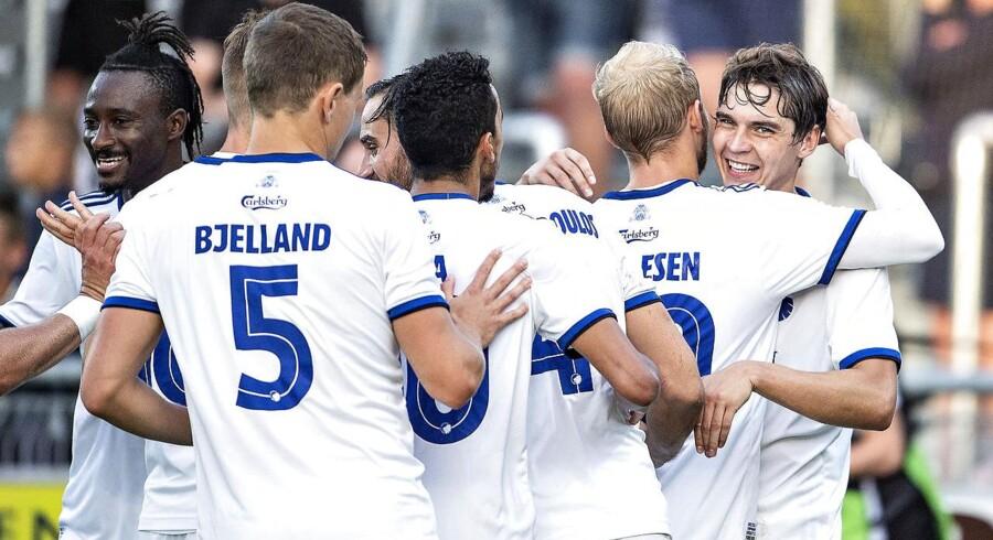 FCK's Robert Skov (th) har scoret sit andet mål til 3-0 i Superliga-kampen mellem Hobro IK og FC København på DS Arena i Hobro , mandag 23. juli 2018.. (Foto: Henning Bagger/Ritzau Scanpix)