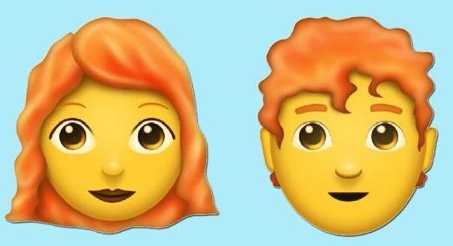 Tirsdag er det international emoji dag. Nu kommer der flere emojis, der er skaldede eller rødhårede. Foto: Emojipedia