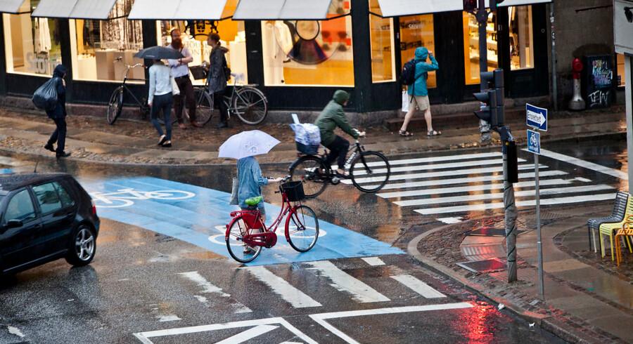 Et heftigt regnvejr rammer København onsdag efter middag den 19. juni 2013. (Foto: Betina Garcia/Scanpix 2013)