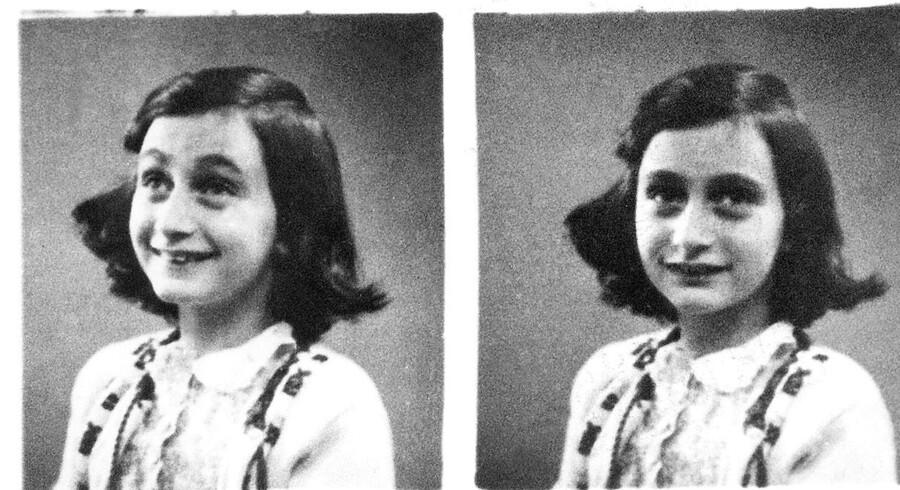 Identitetsfotografier taget af Anne Frank i 1942. Hun døde i kz-lejren Bergen-Belsen i maj 1945. AFP PHOTO / ANP / DESK