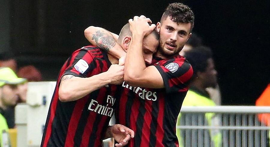 AC Milans Patrick Cutrone og Leonardo Bonucci.