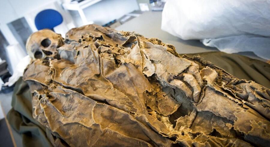 Mumie fotograferet den tirsdag den 12. juni 2018 på Moesgaard Museum, som har lånt en meget velbevaret mumie af Mongoliet i forbindelse med en ny udstilling som åbner den 19. juni.
