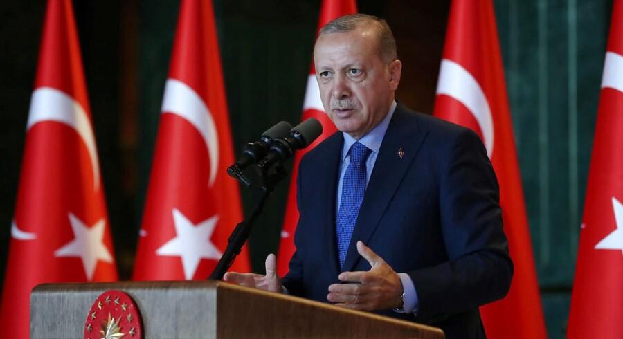 Tyrkiets præsident Tayyip Erdogan aunder et møde i Ankara, Tyrkiet, 13. august 2018.