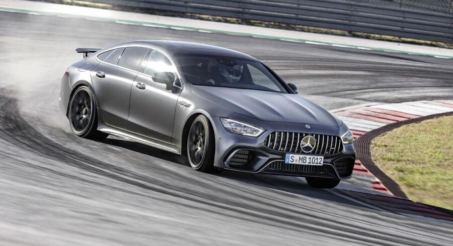 Mercedes-AMG GT 4-dørs 63 S 4MATIC+ når dens 639 hk slippes løs på en racerbane. Foto: PR
