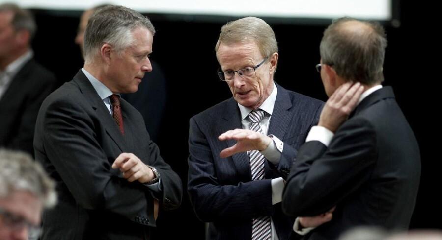Generalforsamling i Vestjysk Bank tirsdag 16. marts 2013. Her Bankdirektør Vagn Thorsager (c). (Foto: Morten Stricker/Scanpix 2013)