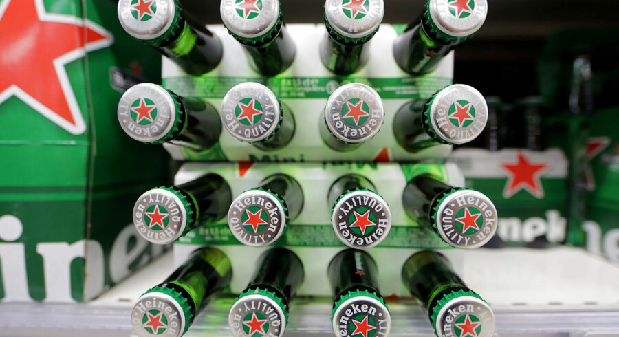 FILE PHOTO: Packs of Heineken beer are displayed for sale in a Casino supermarket in Nice, France, January 16, 2017. REUTERS/Eric Gaillard/File Photo