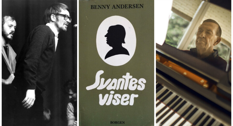 »At Svante er lidt af en øllert, kan man måske nok ane af bogens omslag, hvis dominerende figur er et silhuetklip, der var mere udbredt i den verden af i går, Svante vist savner,« skriver Torben Weirup i sin anmeldelse af omslaget til Benny Andersens »Svantes viser«.