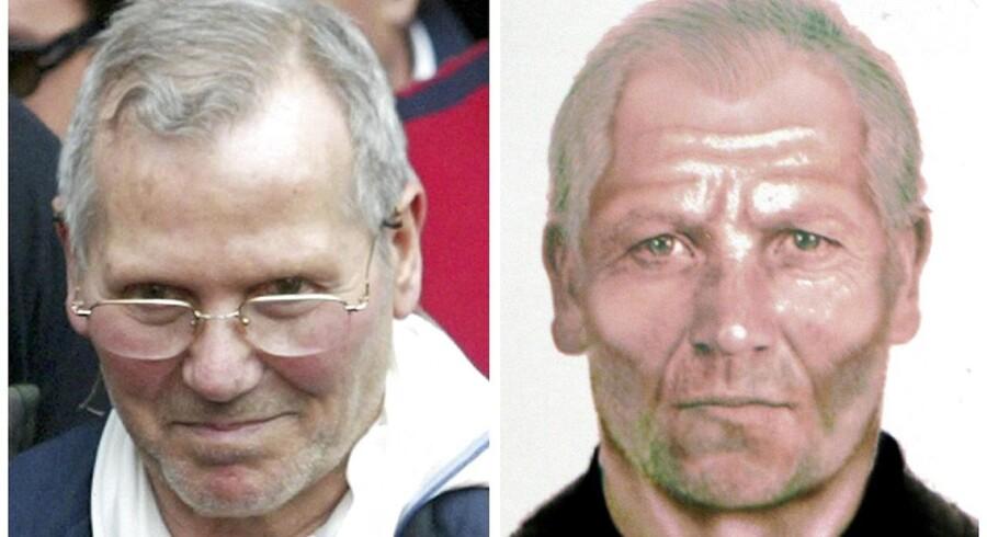 Splitbillede af mafiabossen Bernardo Provenzano som han så ud, da han efter 40 på flugt blev arrestreret i april 2006. Til højre den fantomtegning, som politet mente, han kunne se ud, inden han blev fanget
