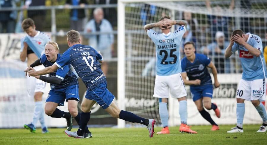 Alka Superliga SønderjyskE - FC Helsingør Sydbank Park 28. juli 2017 Mads Aaquist har scoret sit andet mål for gæsterne og hjemmeholdet er forstenet. (Foto: Frank Cilius/Scanpix 2017)