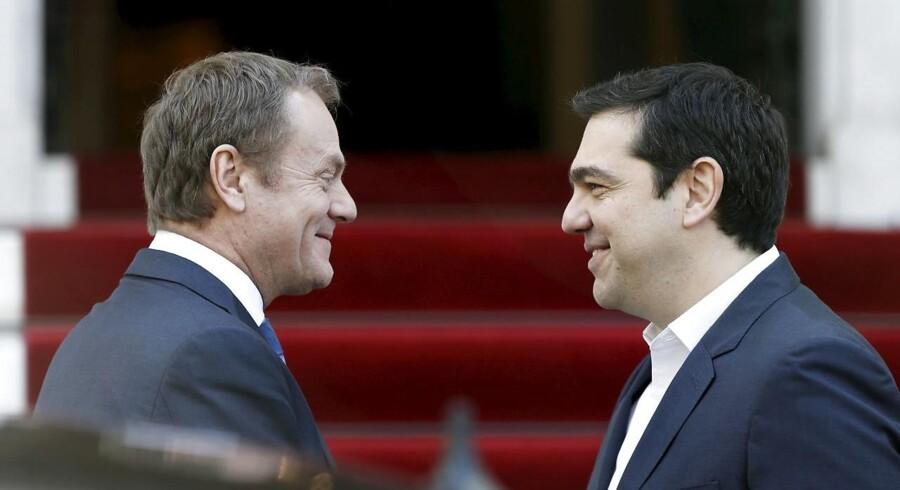 Donald Tusk, møder onsdag den græske premierminister, Alexis Tsipras, i Athen om formiddagen og om aftenen den tyske forbundskansler, Angela Merkel, i Berlin.