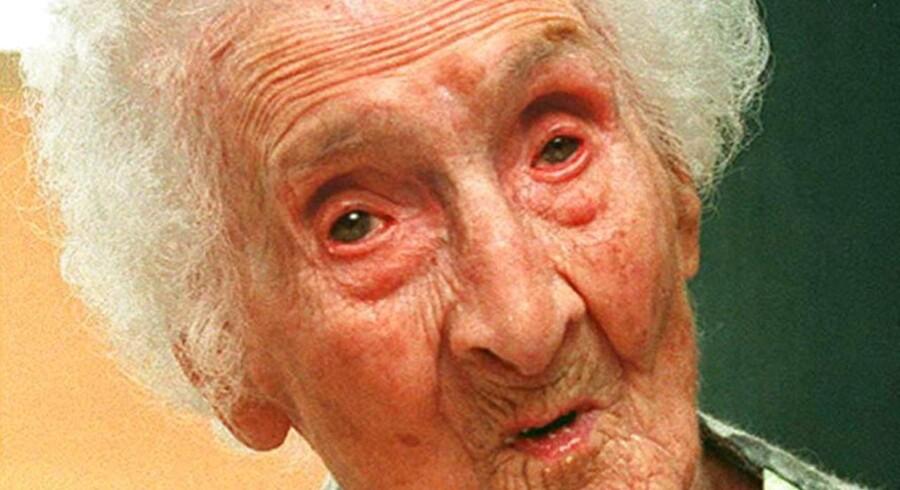 Verdens ældste kvinde, Jeanne Calment, døde i 1997 i en alder af 122 år og 164 dage. AFP PHOTO