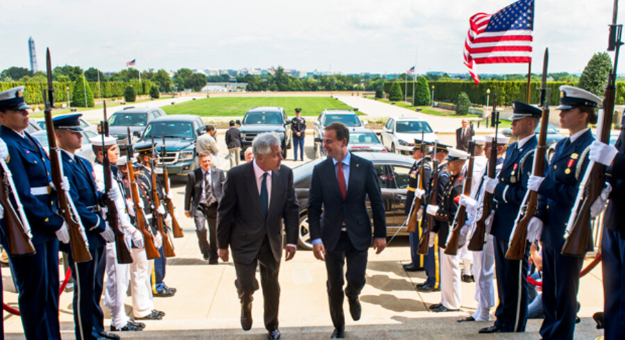 Forsvarsminister, Nicolai Wammen (S), mødtes onsdag med sin amerikanske kollega, Chuck Hagel.