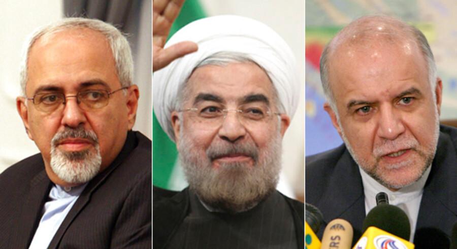 Irans nye præsident, Hassan Rohani (i midten) har på iransk tv nævnt to kandidater til posten som henholdsvis udenrigsminister og olieminister. Særligt udnævnelsen af Irans tidligere FN-ambassadør Javad Zarif (tv.) som mulig kommende udenrigsminister vækker opsigt. Til højre er det Bijan Zanganeh, der er i spil som ny olieminister.