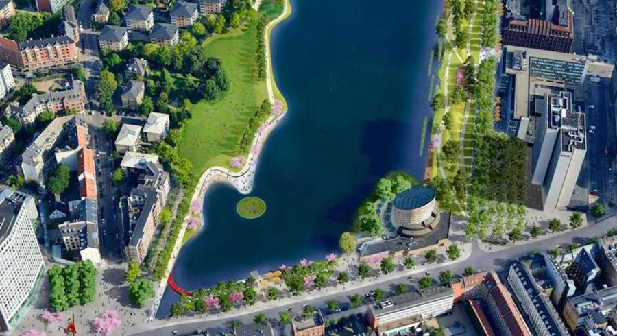 En helt ny, grøn strandpark ved Sankt Jørgens Sø kan være på vej til Københavnerne, hvis kommunens skybrudsplaner føres ud i livet.