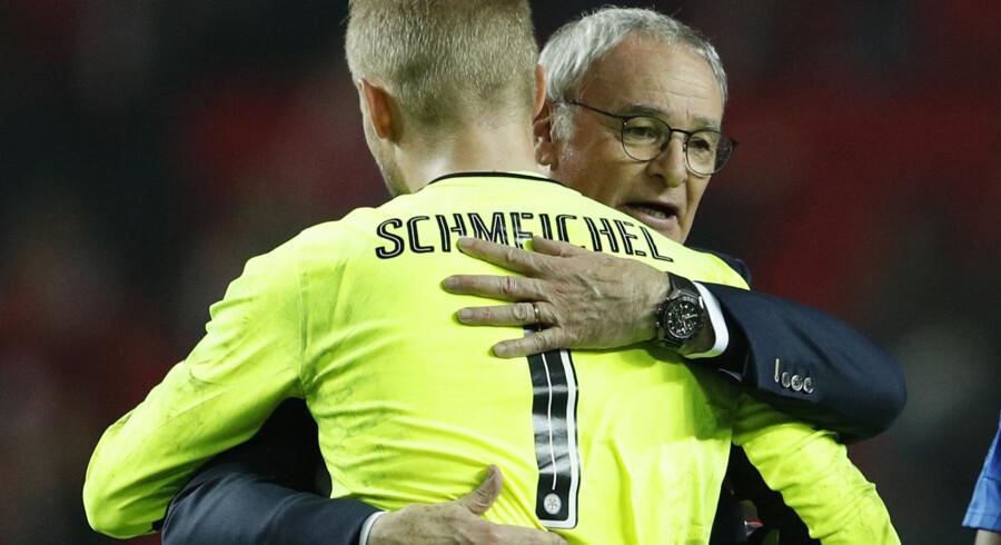 Kasper Schmeichel havde travlt, men slap godt fra det meste mod Sevilla. Reuters/John Sibley