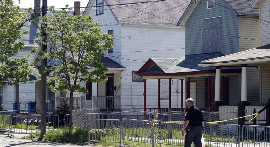 Huset i Cleveland, Ohio, hvor de tre kvinder - deriblandt Michelle Knight - blev holdt fanget i 9, 10 og 11 år.