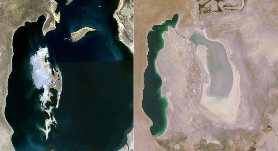 Aralsøen i henholdsvis 1989 og 2008. Foto: NASA