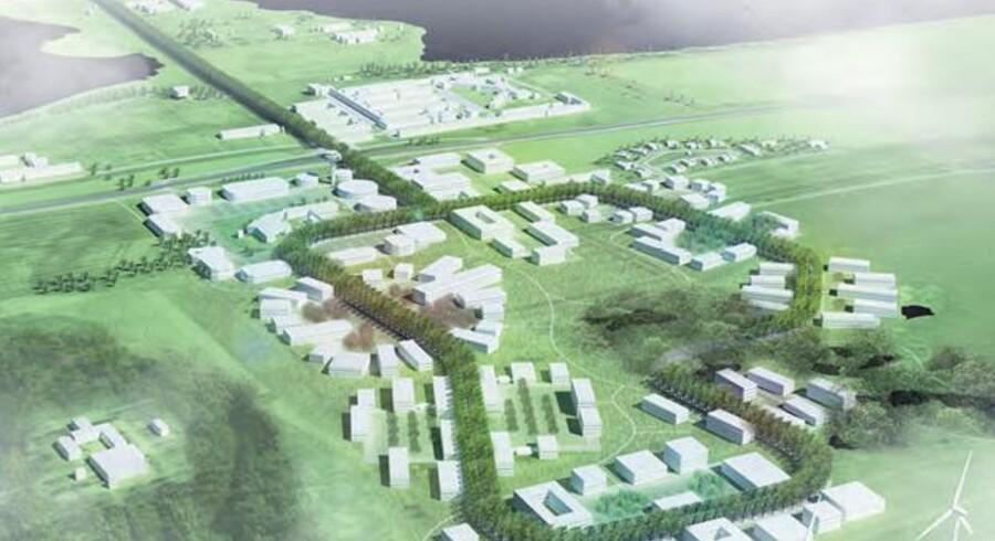 »Sådan kunne området komme til at se ud på langt sigt. Tanken er at videreføre strukturen med klynger af huse og en sammenbindende række af træer fra DTU Risø Campus-området. Forskerparken skal være bæredygtig både i sin produktion og i de fysiske forhold.«