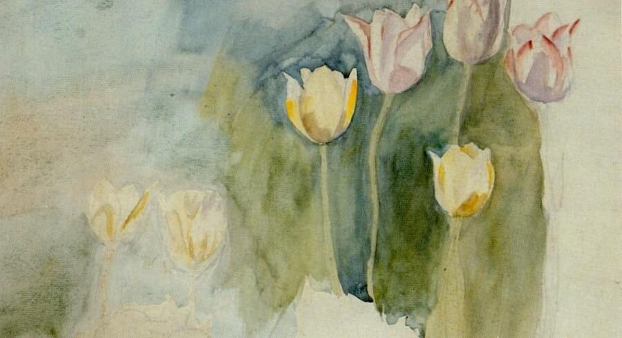Mod slutningen af sit liv begynder Anna Syberg mere eller mindre at opløse sine motiver. Selve ideen om blomsterne bliver mere vigtigt end den præcise gengivelse. Billedet, der er udateret, hedder Tulipaner. Foto: Ordrupgaard