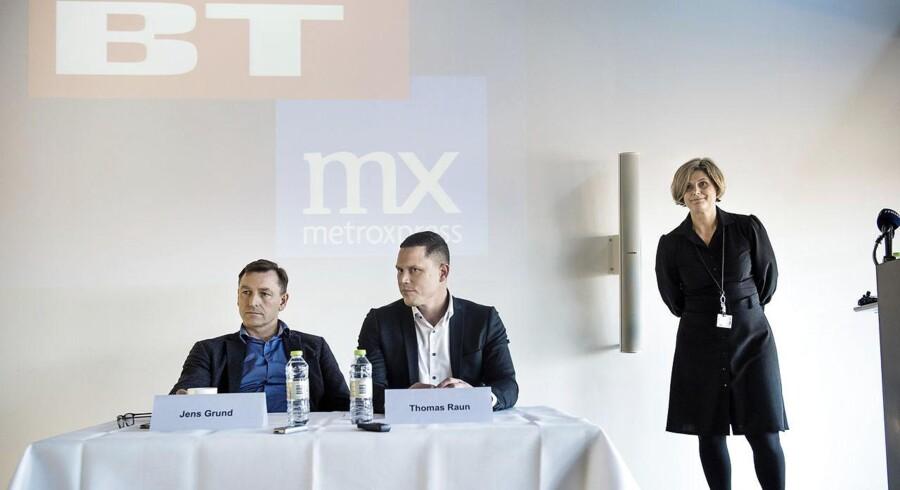 Pressemøde om sammenlægning af BT og Metroxpress hos Berlingske Media. Til stede: Mette Maix, adm. direktør for Berlingske Media, Jens Grund, konstitueret ansvarshavende chefredaktør i selskabet, og Thomas Raun, som i dag er adm. direktør for MX. (Arkivfoto)
