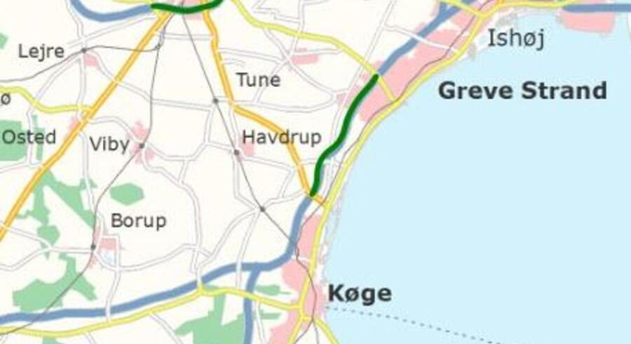 Den grønne strækning angiver udvidelsen af Køge Bugt-motorvejen, der åbner 2016.